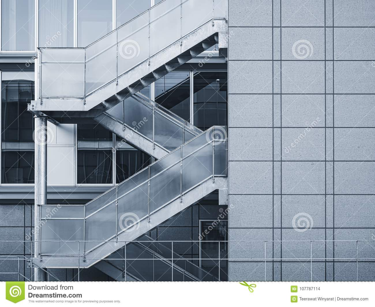 Architecture Detail Staircase Modern Building Exterior Stock Photo
