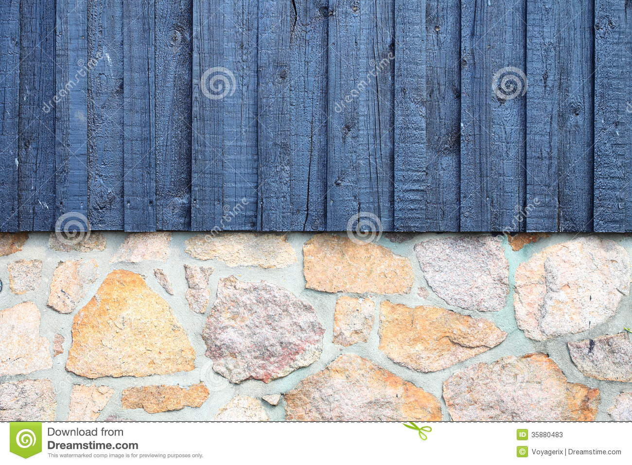 Architecture Detail Stone Wall With Wooden Planks Stock
