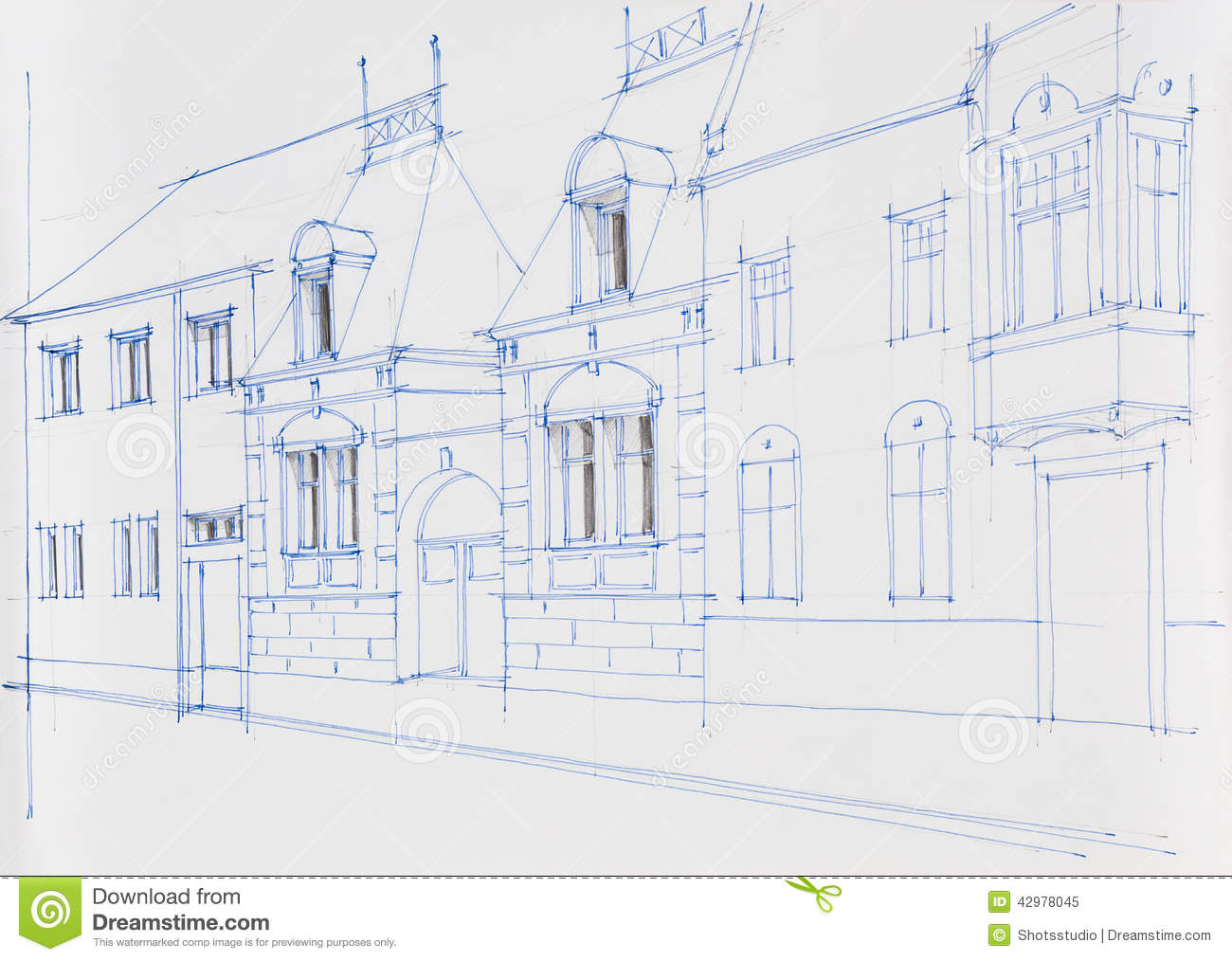 Architecture Drawing Of Building Facade Stock Illustration