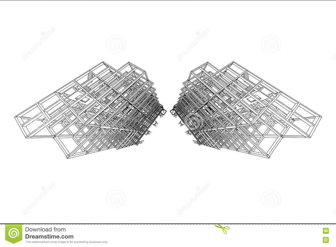 Stock Illustration Architecture Drawing High Rise Building Structure Abstract D Illustration Image74398506 on modern home design plans