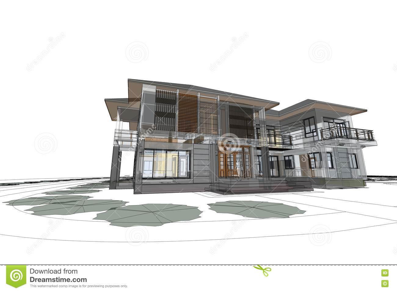 Architecture drawing modern house 3d illustration stock for Architecture moderne