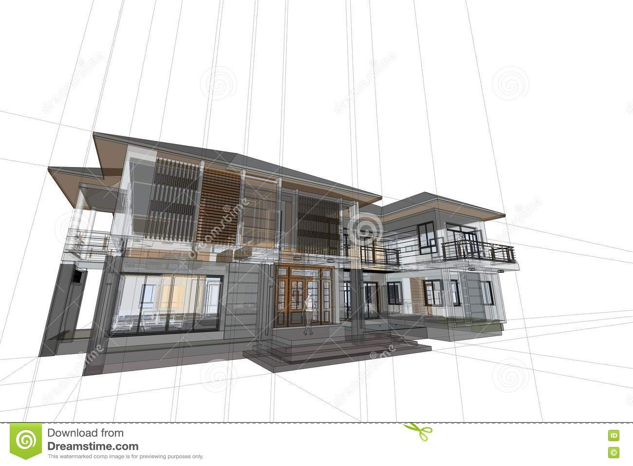 Architecture Drawing Modern House 3d Illustration Engineering Engineer