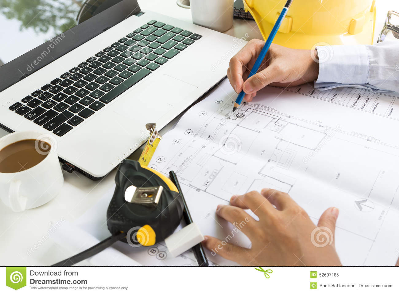architecture drawing on project plan stock photo image  architecture drawing on project plan