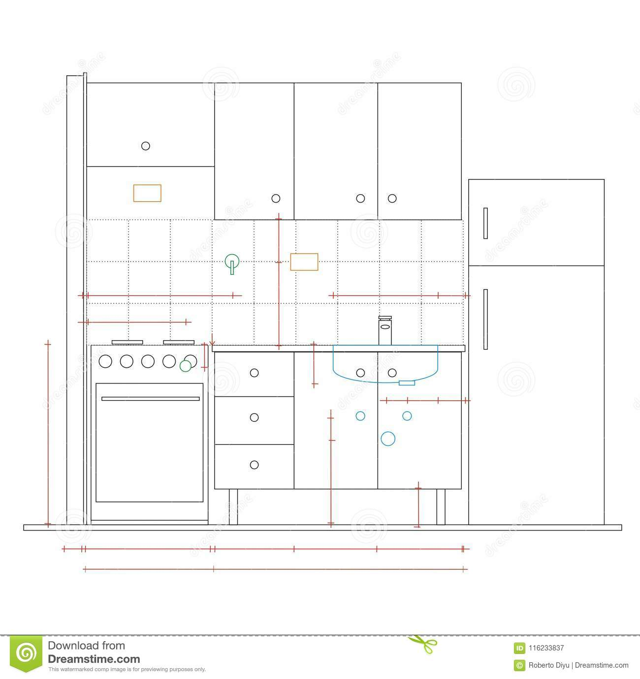 Architecture Drawing Staking A Kitchen Stock Vector Illustration