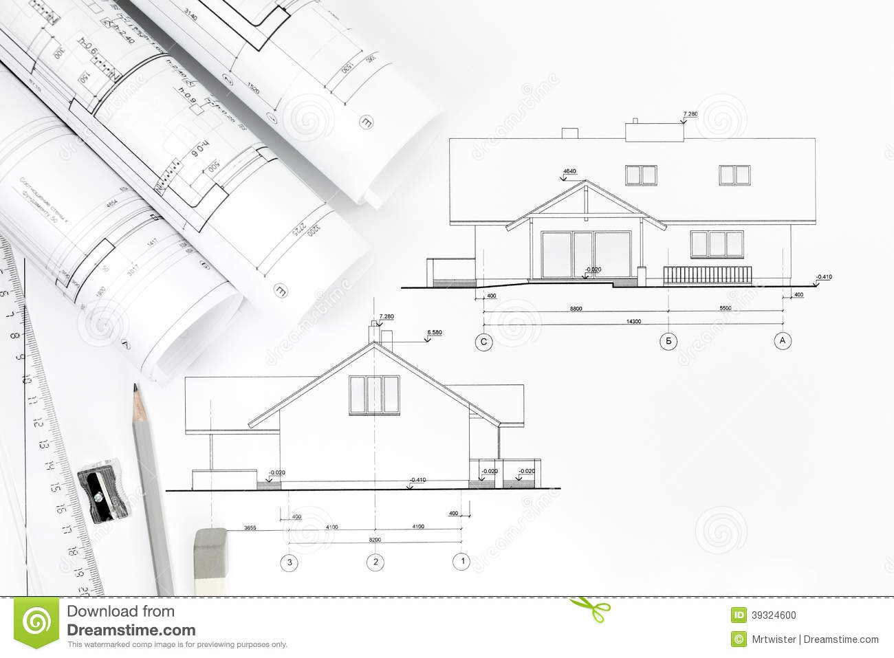 Architecture Drawing And Work Tools Stock Photo Image