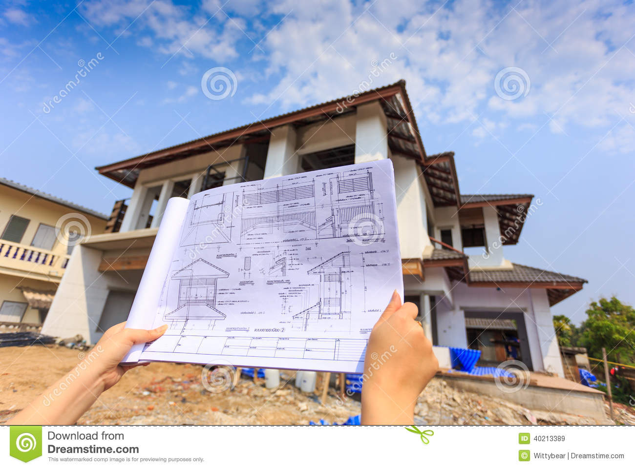 Architecture Drawings In Hand On Big    House    Building Stock