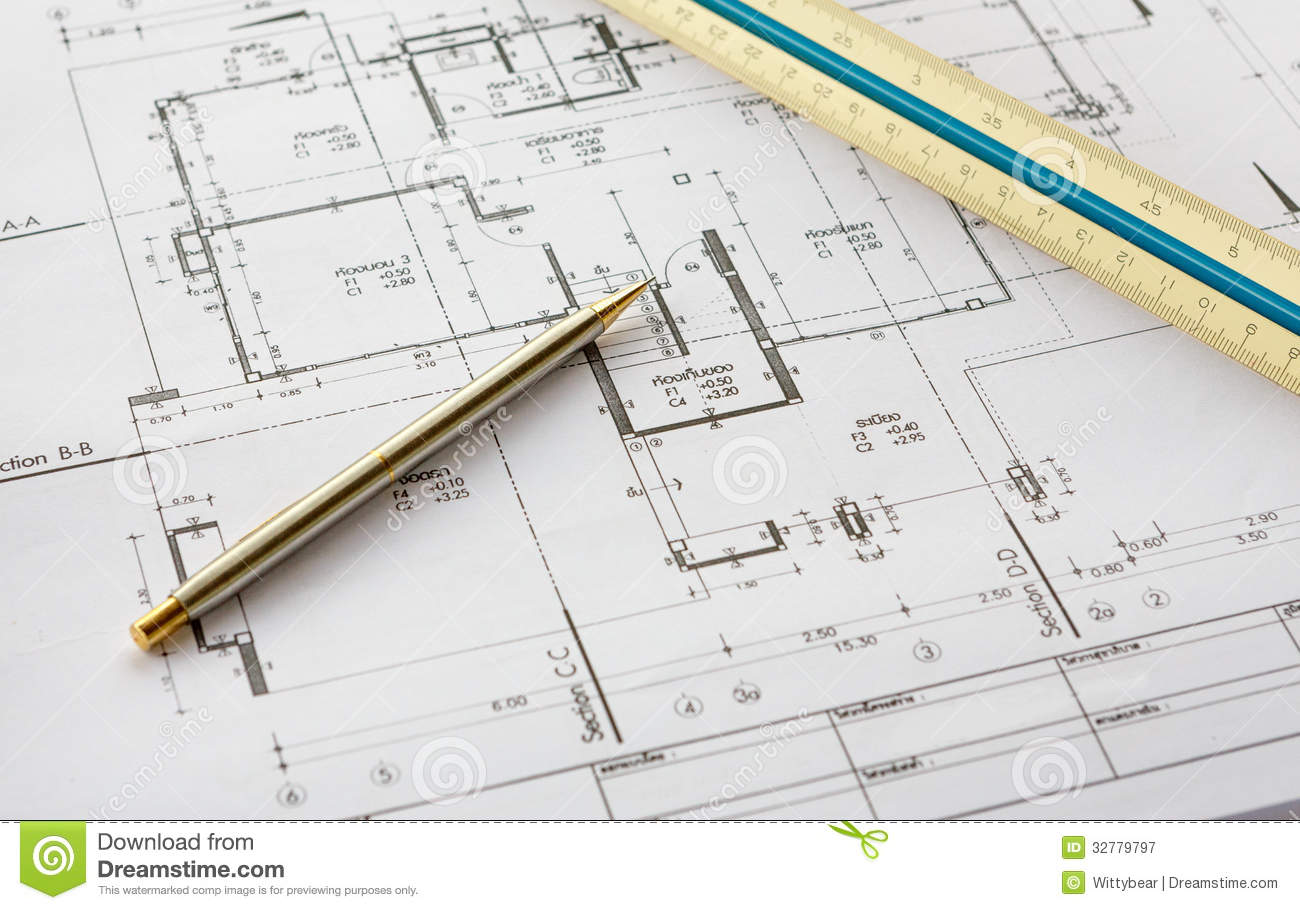 Architecture drawings with pencil and ruler stock image for Online architecture drawing