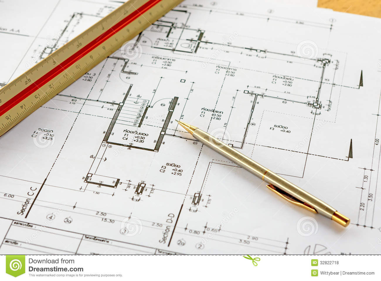 Architecture drawings with pencil and ruler royalty free for Online architecture drawing