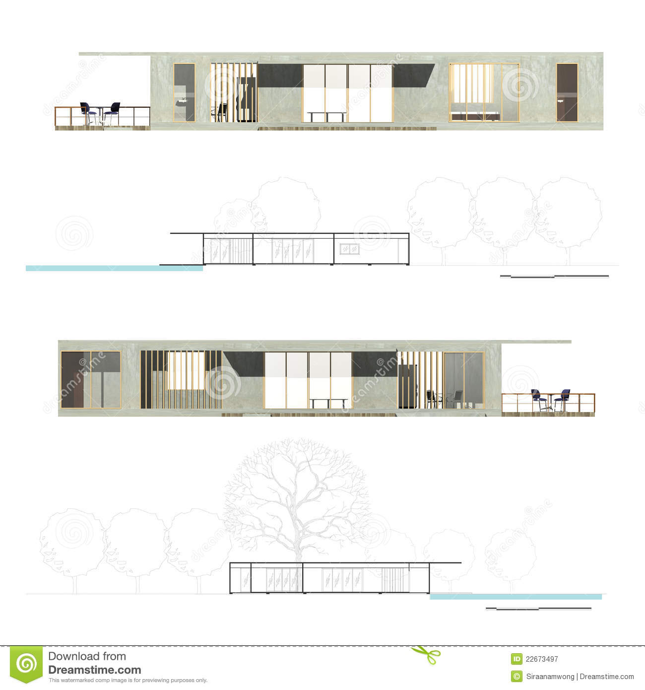 Architecture elevation and section stock illustration for Online architecture drawing
