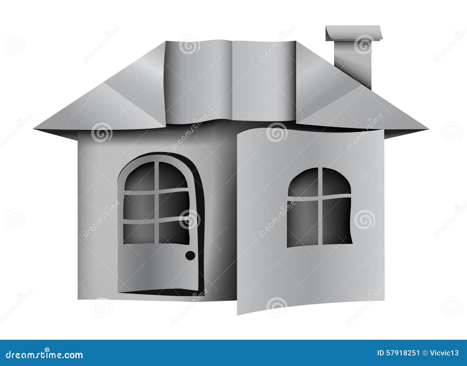 architecture empaquetez la maison origami illustration de. Black Bedroom Furniture Sets. Home Design Ideas