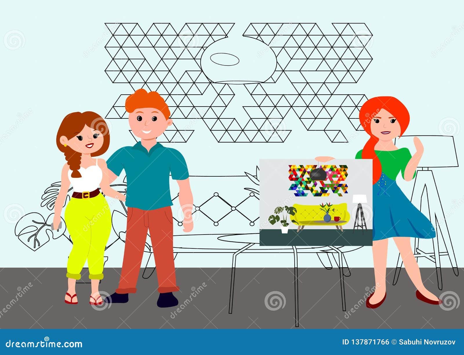 Architecture et concept de construction intérieure avec l architecte de concepteur de femmes et les jeunes couples Le dessinateur