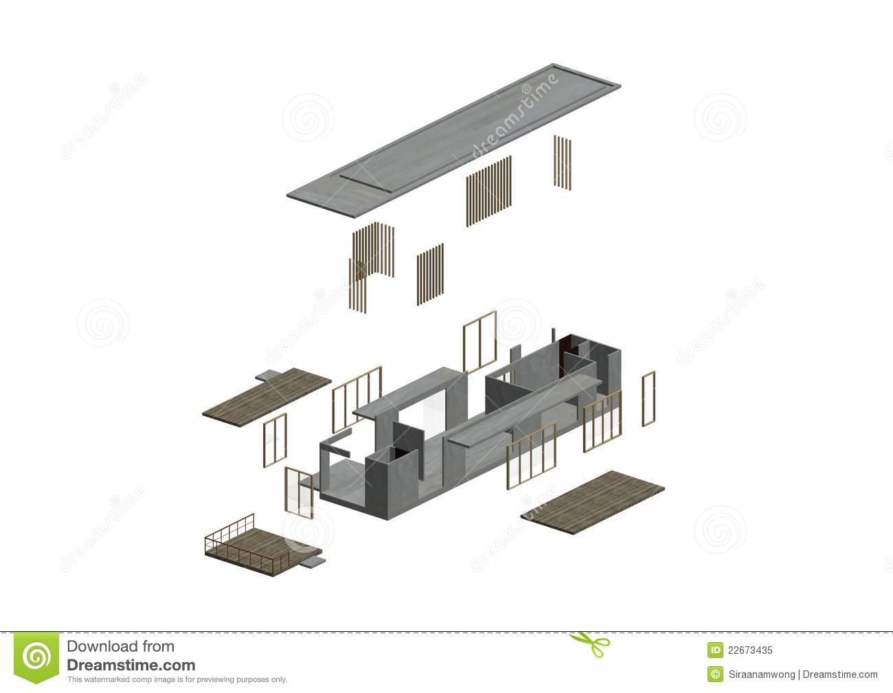 Architecture Exploded In Axonometric Royalty Free Stock Photo