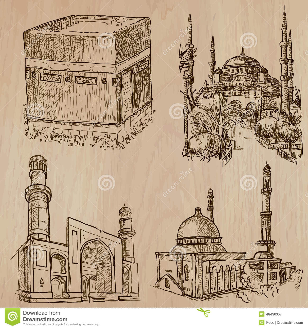 Architectural Drawings Of Famous Buildings famous places and architecture - hand drawings stock illustration