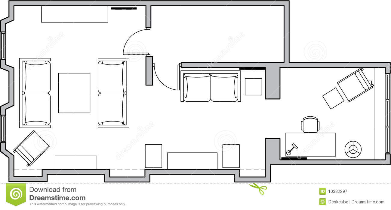 Architecture floor plan stock vector illustration of - Architectural plan of two bedroom flat with dining room ...