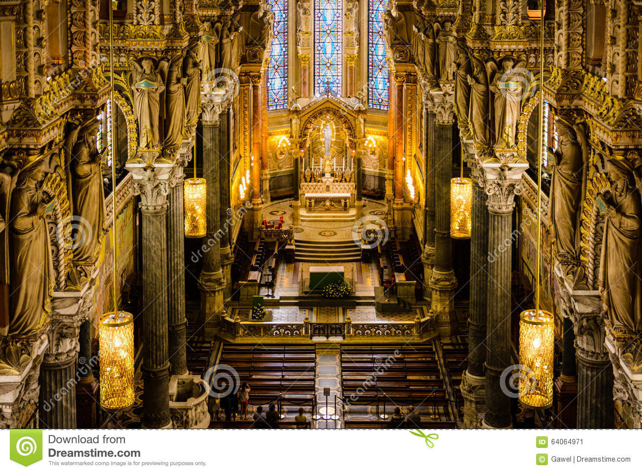 Architecture in fourviere basilica lyon france stock for Z architecture lyon