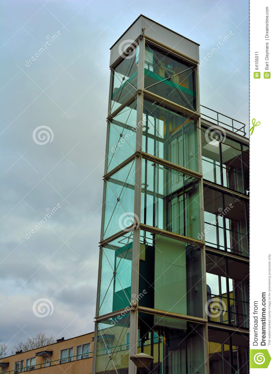Architecture Glass Elevator Shaft Stock Image Image Of