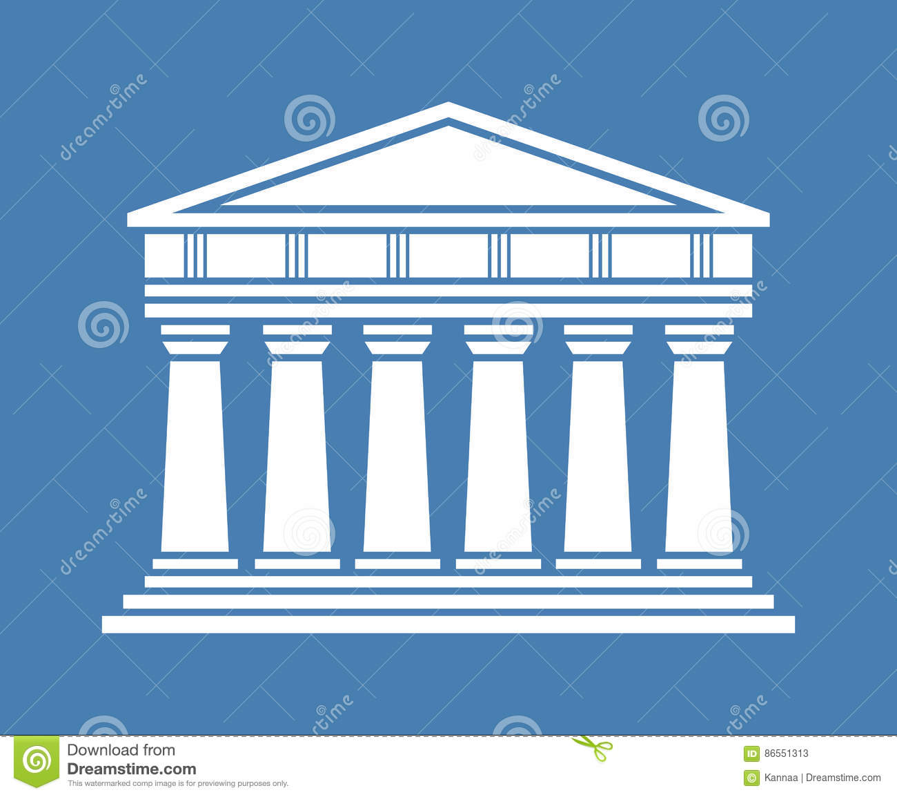 architecture greek temple icon stock vector - image: 86551313
