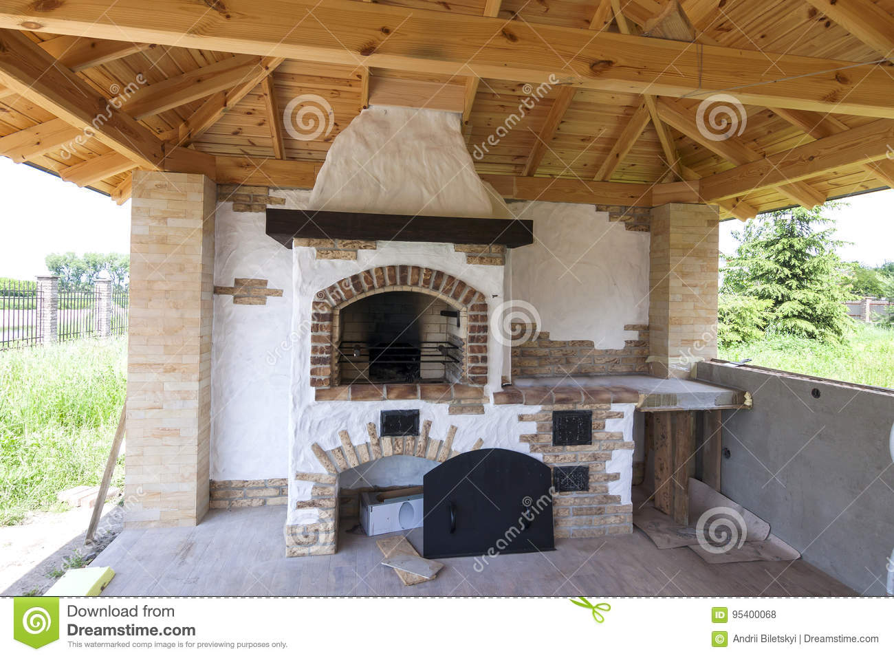 Architecture, house old style, porch with grill fireplace outdoors