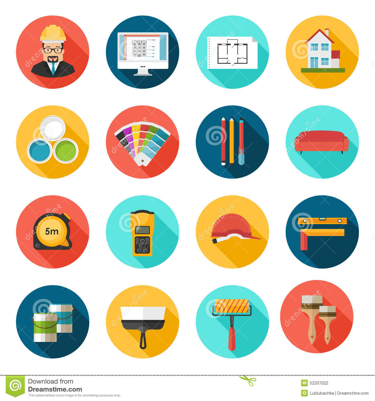 Architecture interior design and repairs vector icons set for Interior design images vector