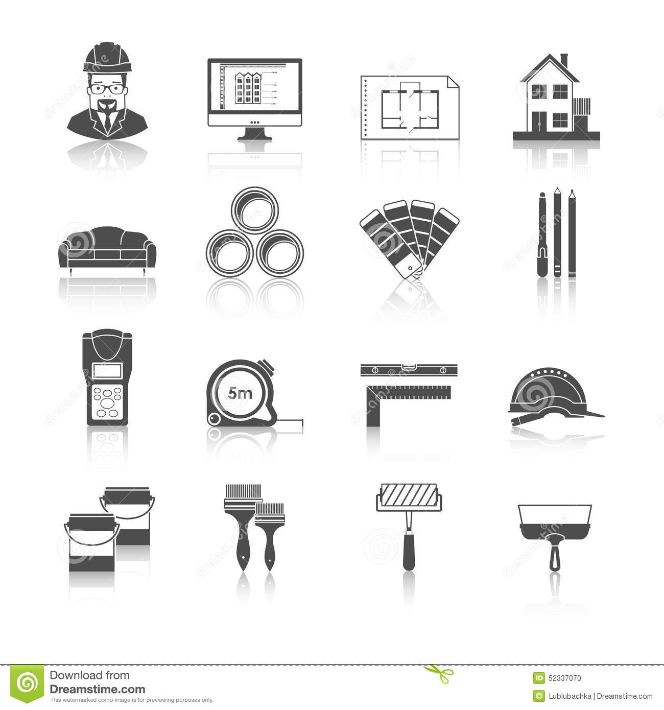 Architecture, Interior Design And Repairs Vector Icons Set ...