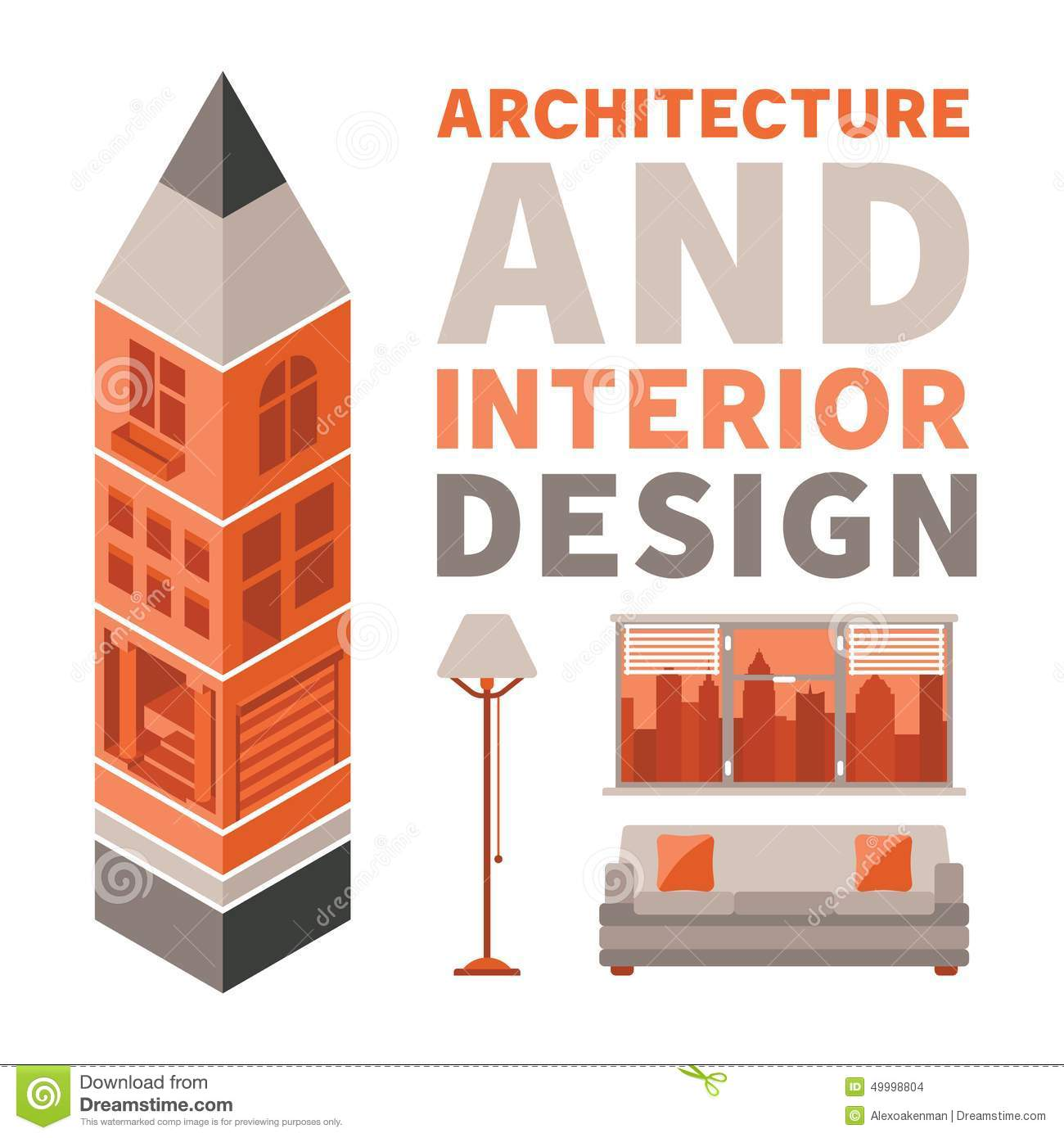 Architecture and interior design vector concept in flat for Architecture interior design