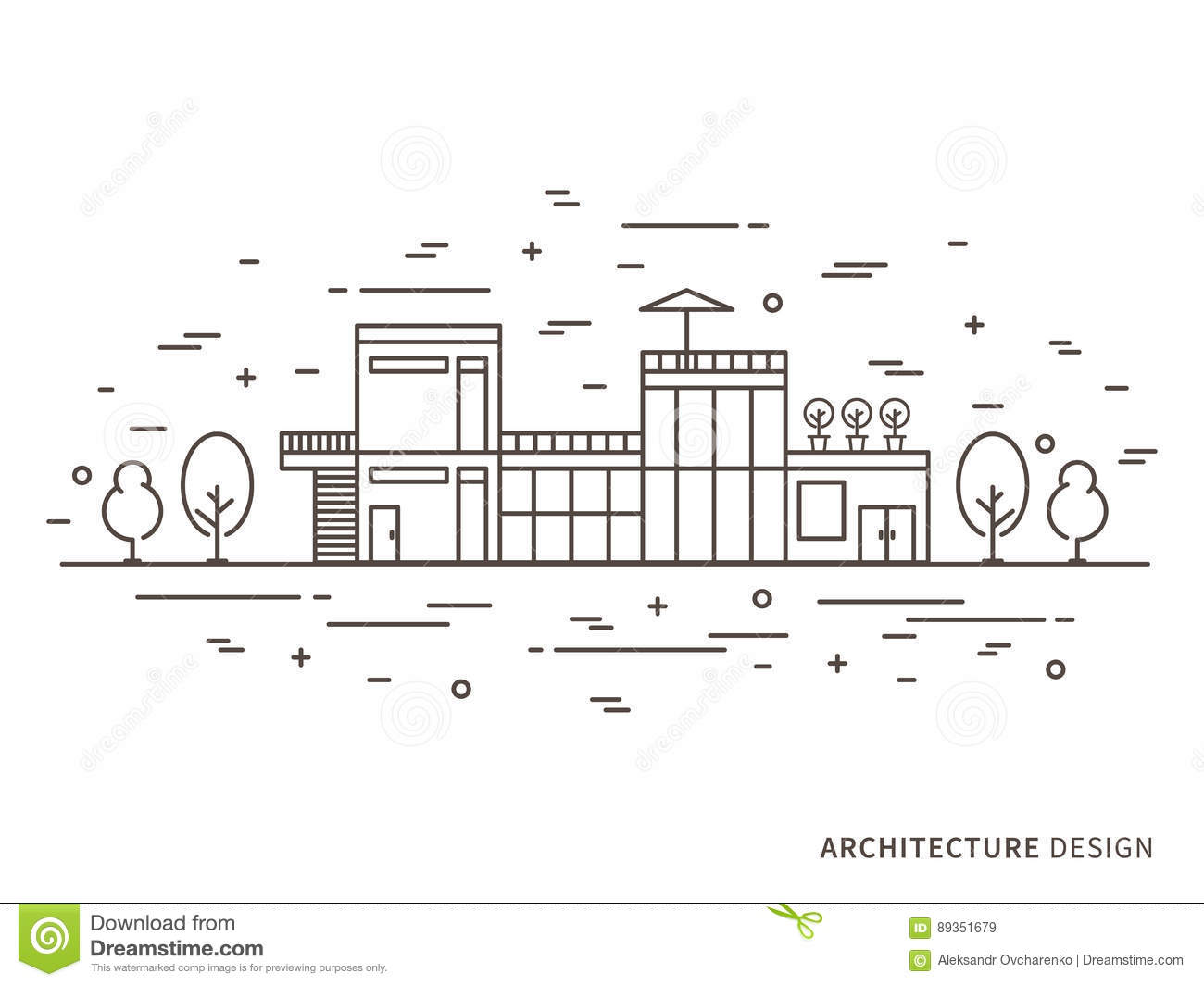 Architecture Landscape Design Illustration Stock Vector