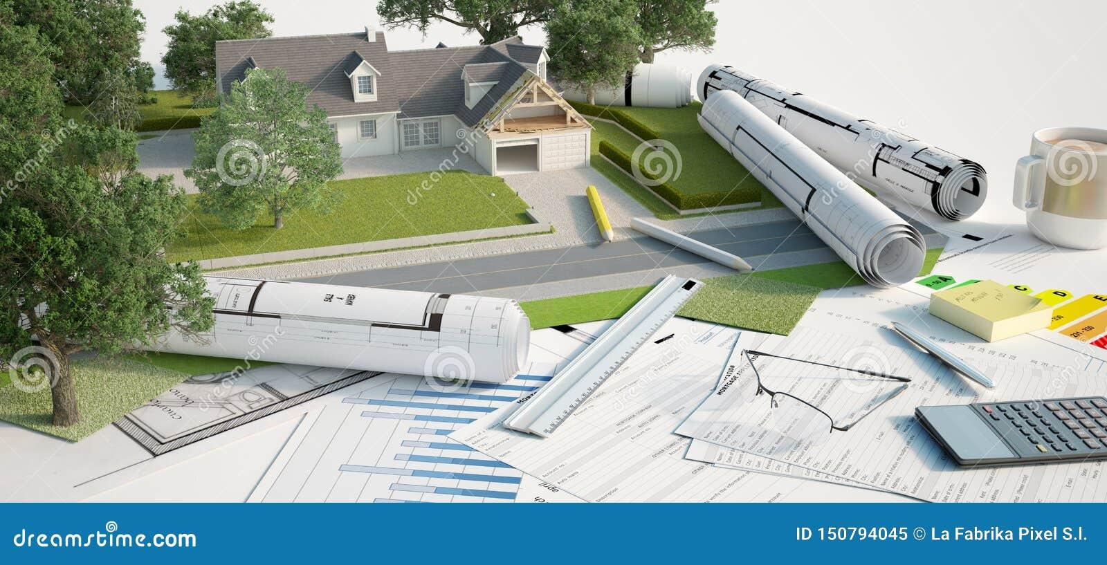 Architecture And Landscape Model Project Stock Illustration Illustration Of Efficiency Landscape 150794045