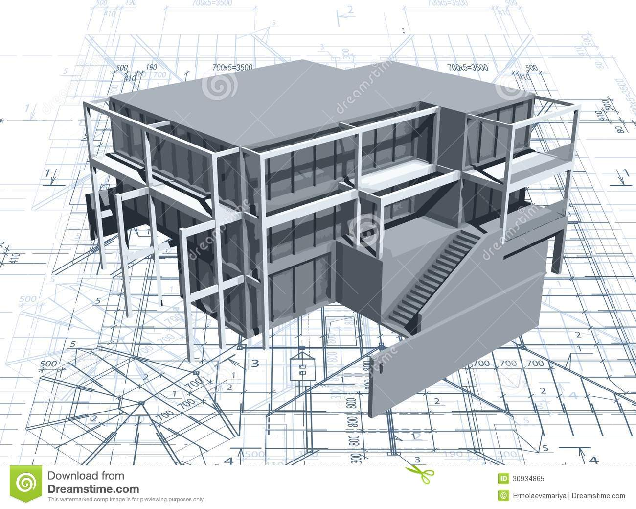 Architecture model house with blueprint vector stock vector architecture model house with blueprint vector royalty free stock photo malvernweather Images