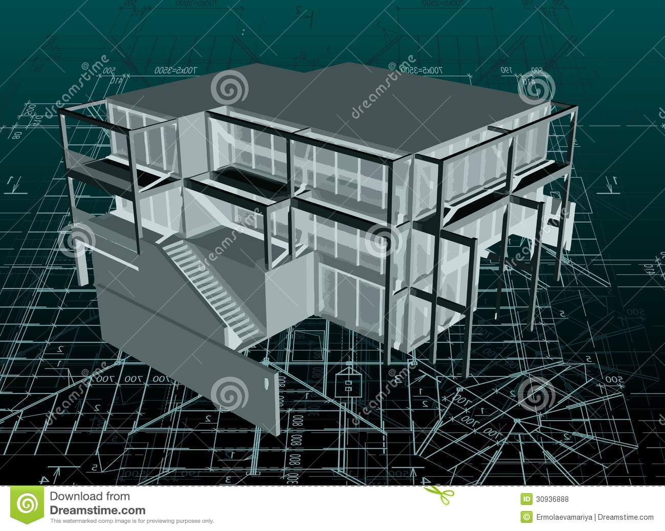 Picture Book Illustration Making An Architectural Model: Architecture Model House With Blueprint. Vector Royalty