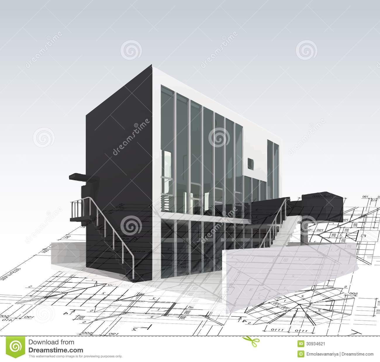 Picture Book Illustration Making An Architectural Model: Architecture Model House With Blueprints. Vector Stock