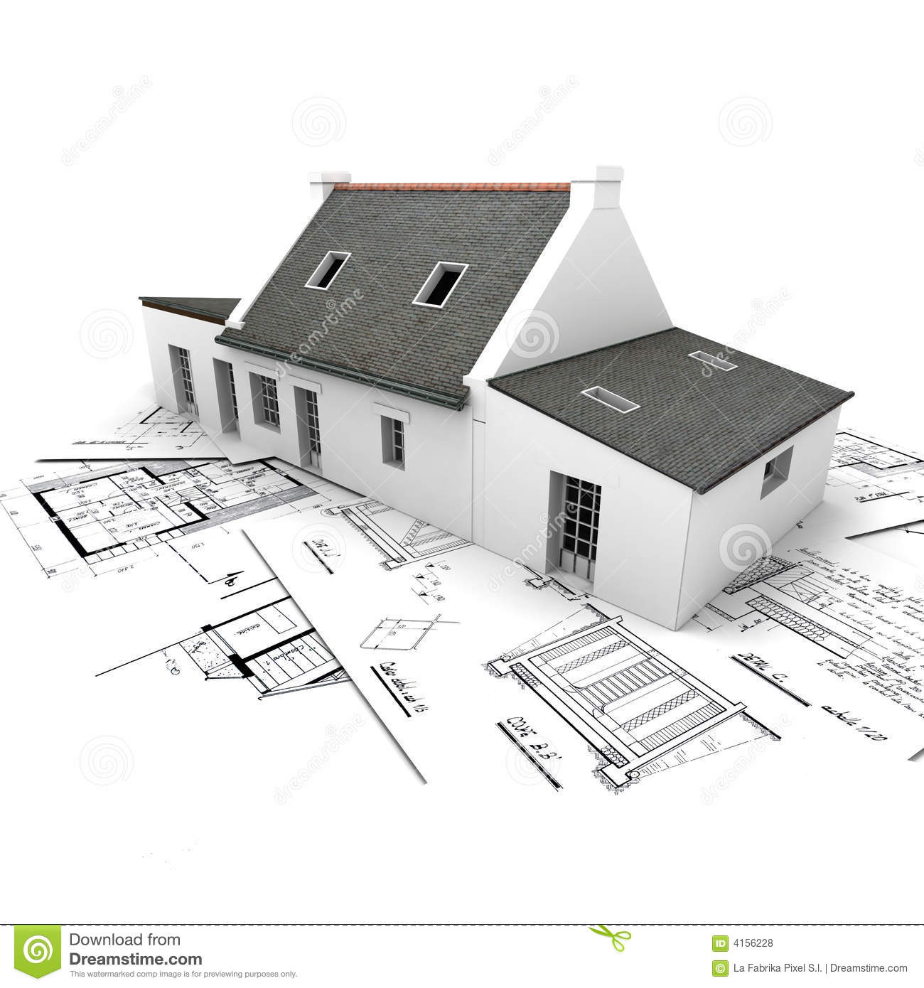 Architecture model house on top of blueprints royalty free for Free 3d blueprints