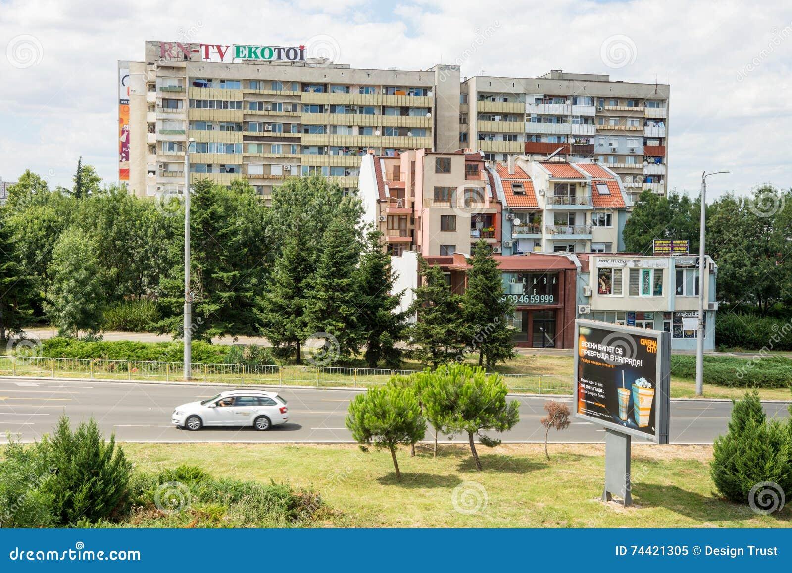 Architecture moderne et soviétique dans Burgas en Bulgarie