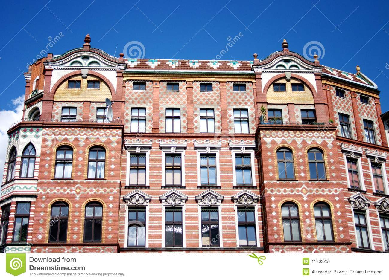 Architecture the old brick house under blue sky stock photos image