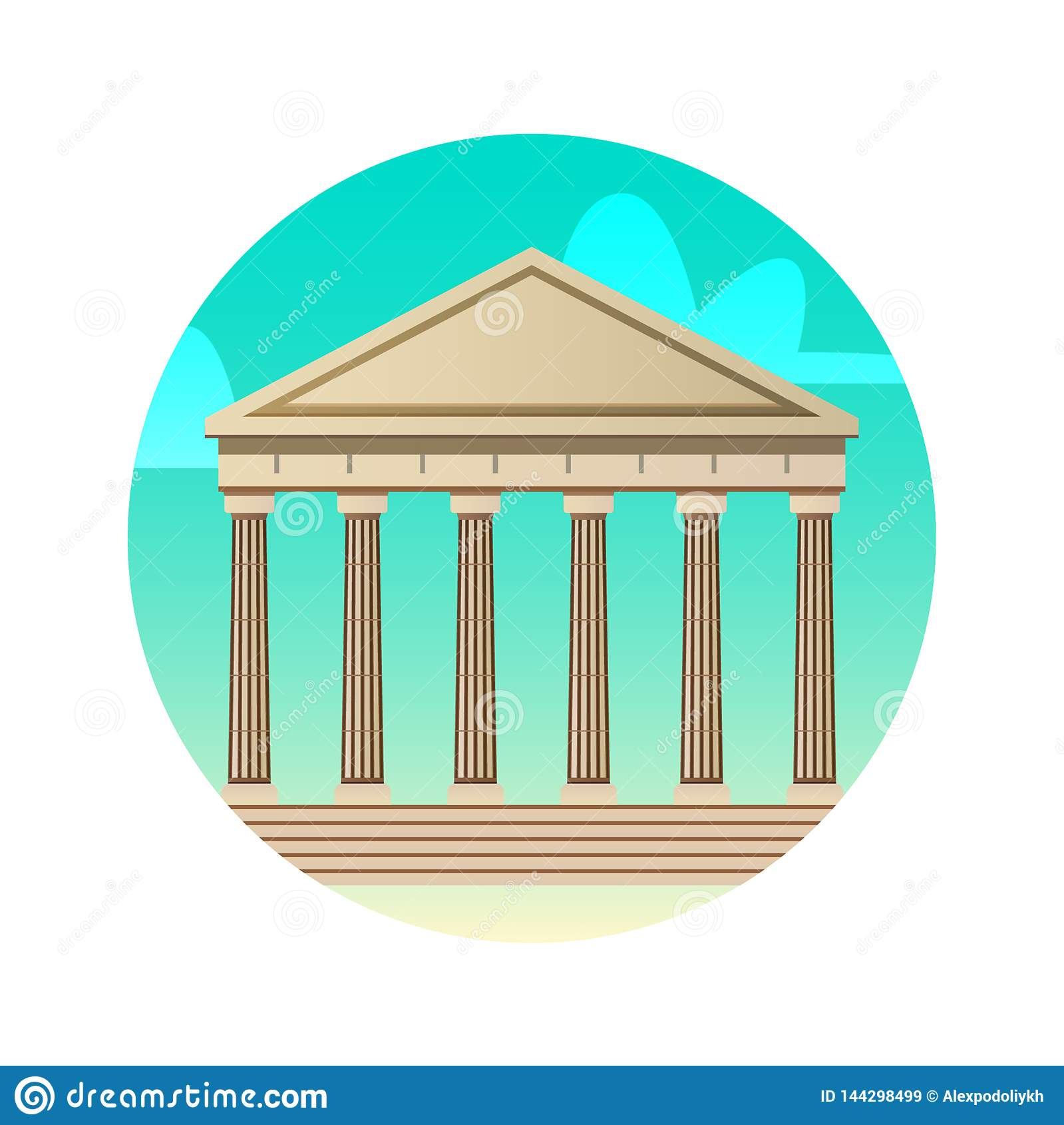 Architecture Parthenon flat color icon. Greece, Athens historical sights.