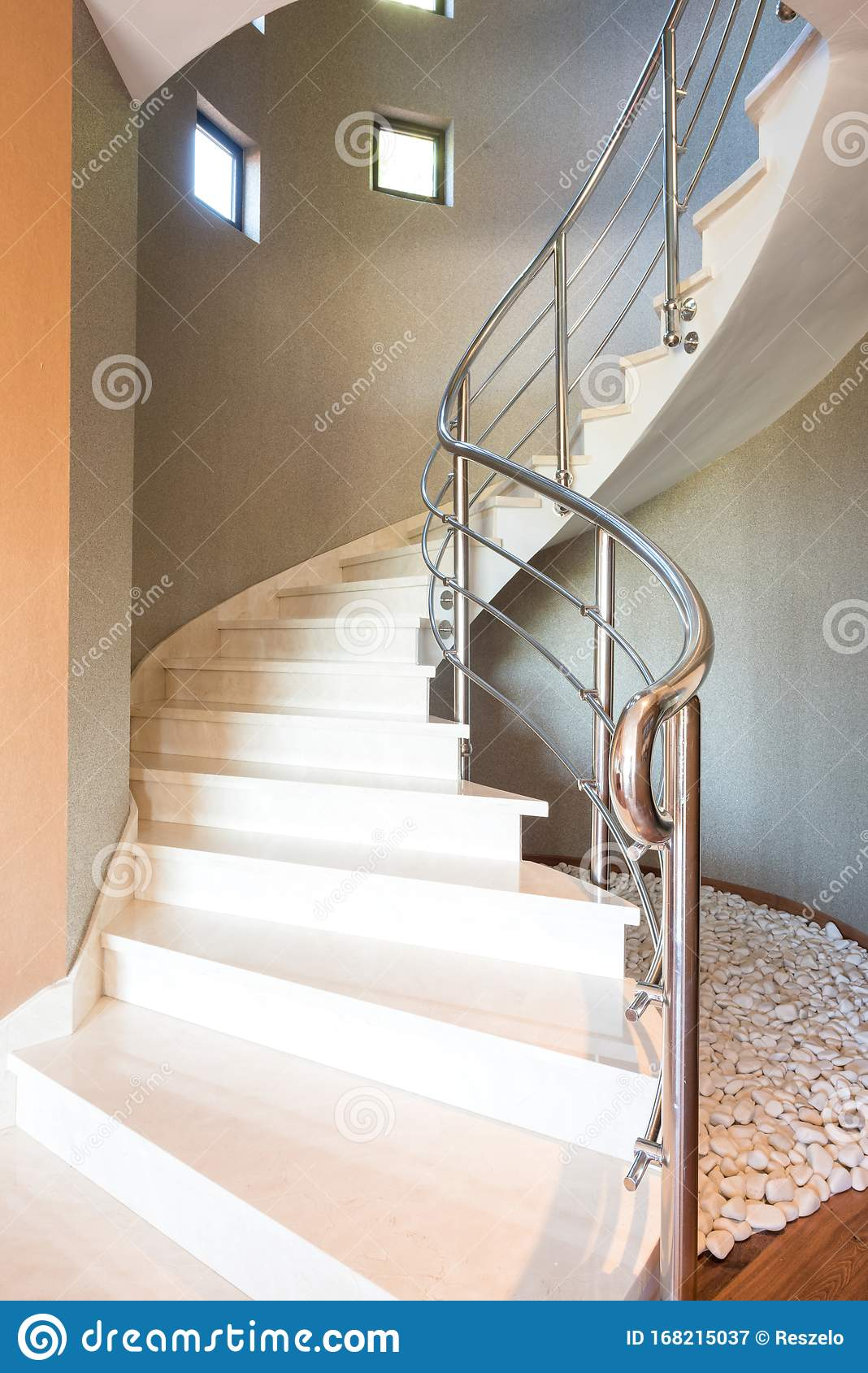 This Architecture Photo Shows A Curved Stairway In A Modern House With Marble Stairs And Steel Handles Stock Image Image Of Stairs Showing 168215037
