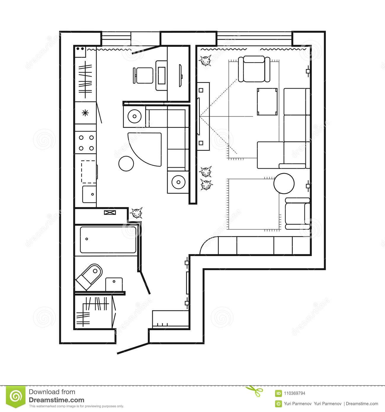 Architecture Plan With Furniture. House Floor Plan. Kitchen ...