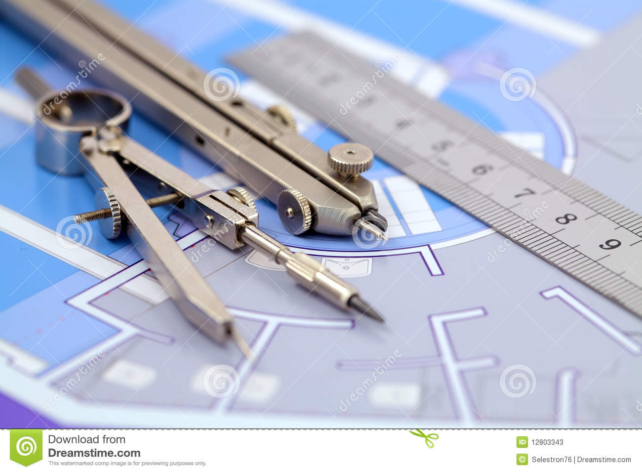 Architecture Plan Amp Tools Stock Image Image Of Interior