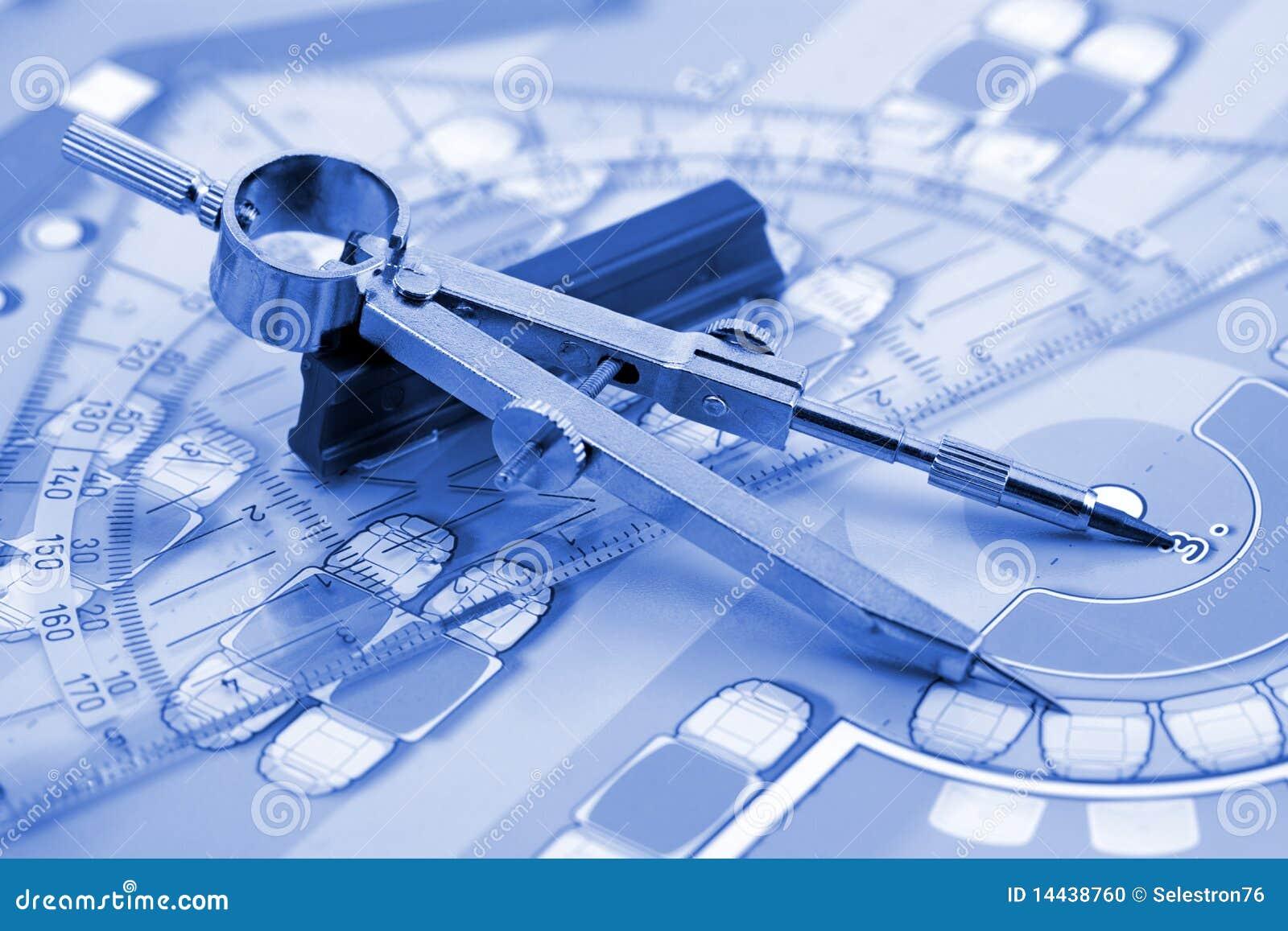 Architecture Plan Work Tools Stock Photo Image 14438760