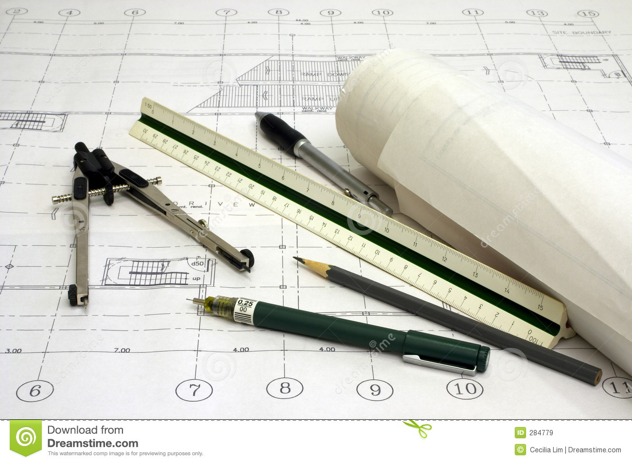 Architecture Plans Stock Image Of Design Ruler