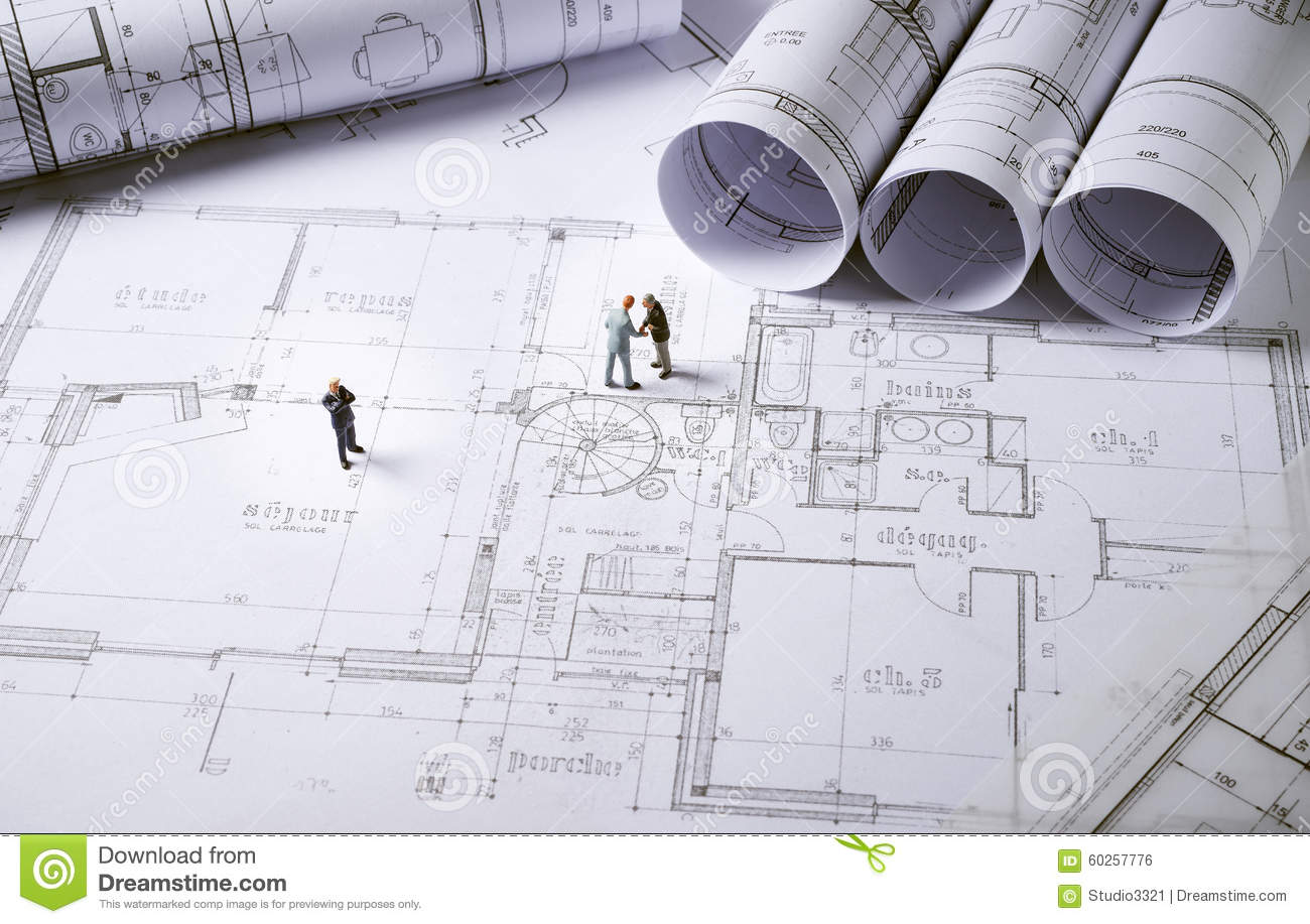 Architecture Plans With Character Stock Photo Image