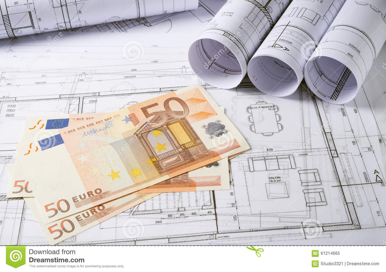 Architecture plans with money stock image image 61214665 for Home design unlimited money
