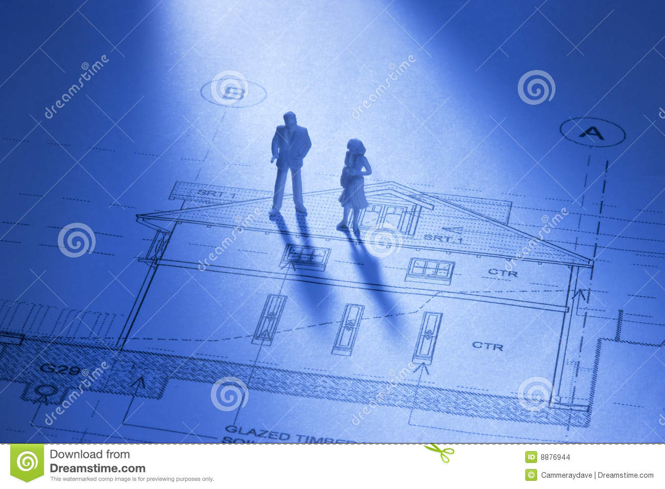 Architecture house home plans people stock photo image for Architecture blueprint