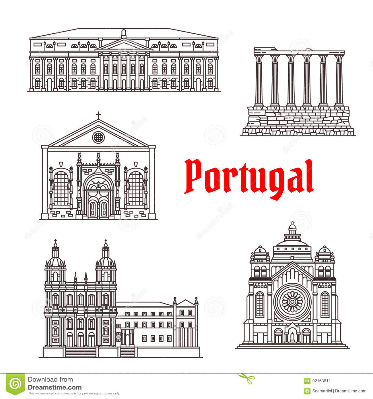 vector icons and facades of santa lucia basilica sao vicente de fora church or monastery diana evora temple national theater of lisbon