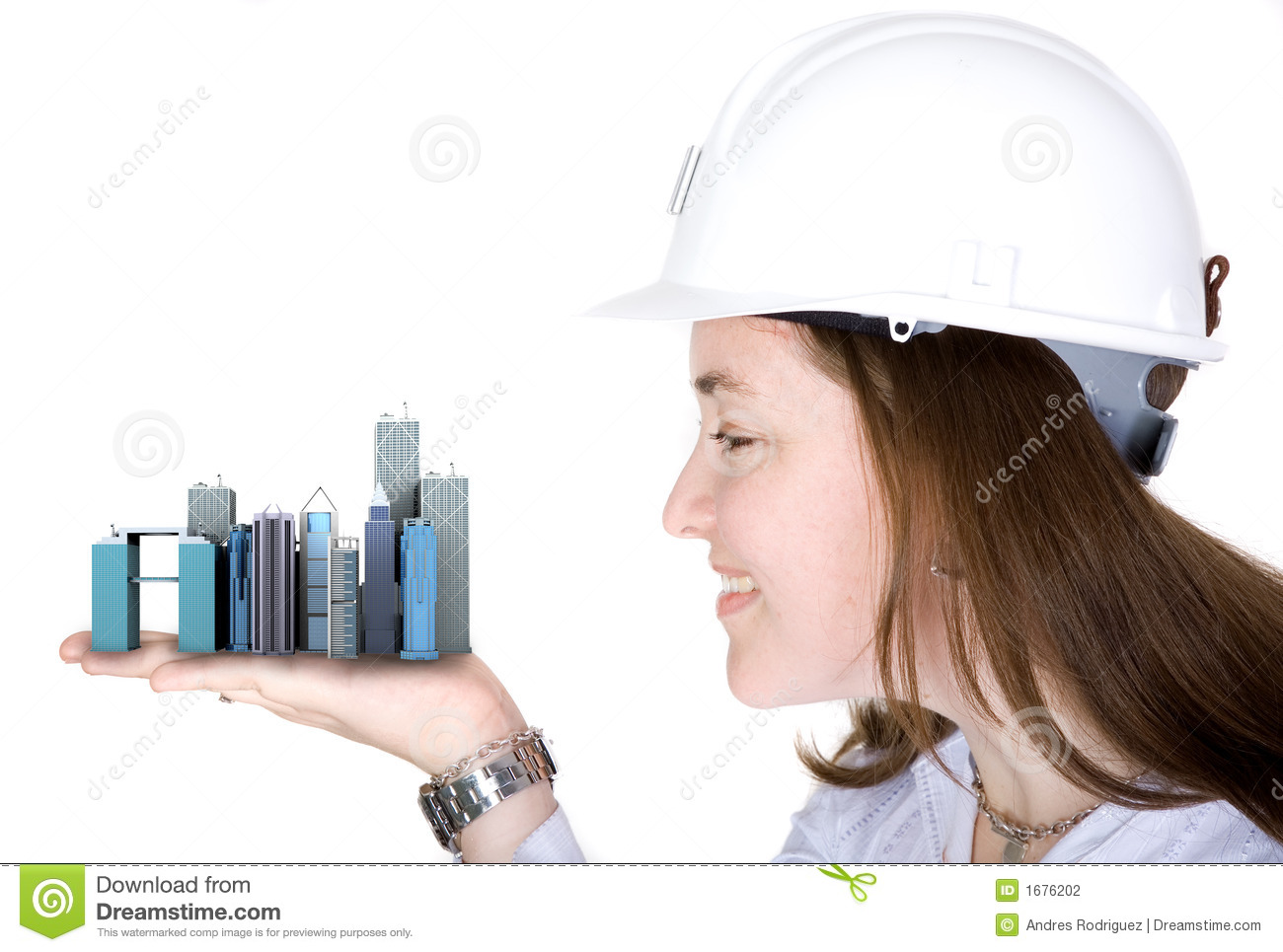 Architecture Project Woman Holding Buildings Stock Photo