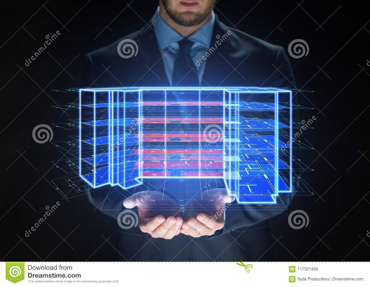 Close up of businessman with virtual projection