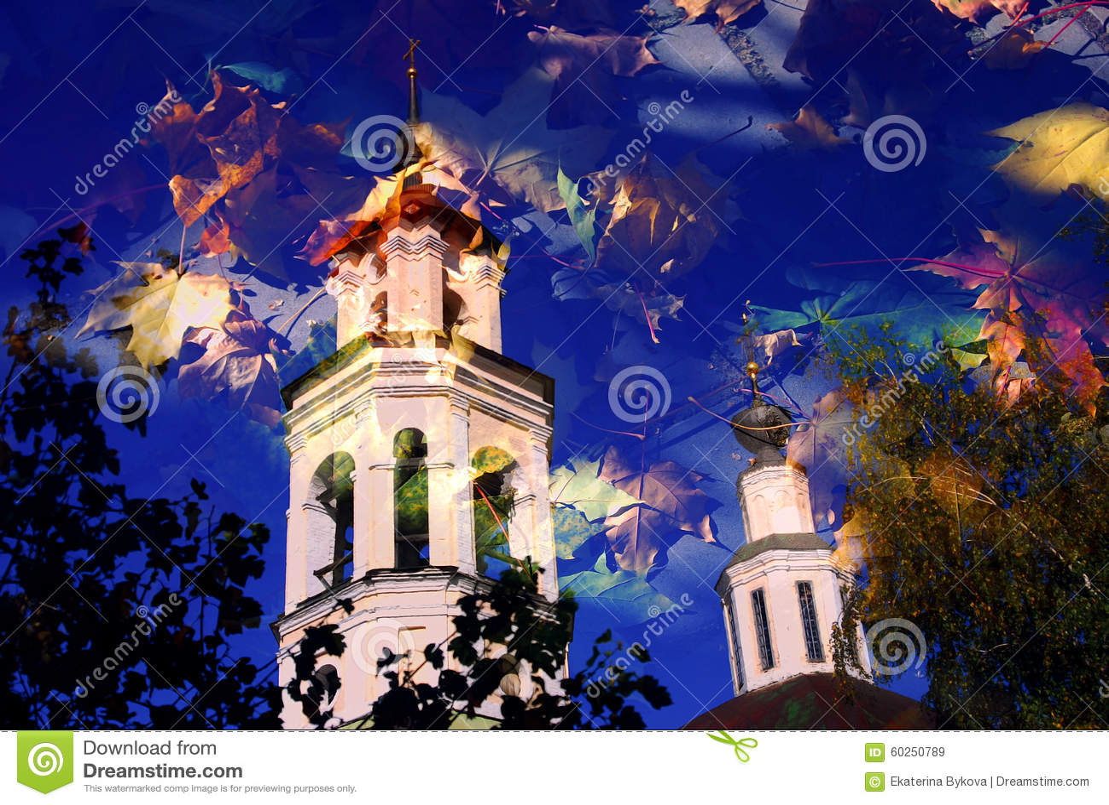 Architecture of Vladimir town, Russia. Autumn nature.