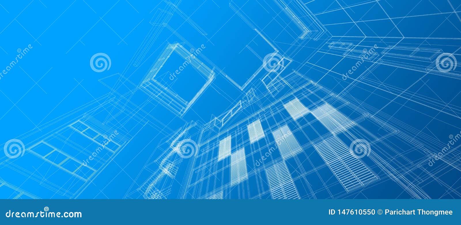 Architectuur die het ruimtekader bouwen die van de het perspectief witte draad van het ontwerpconcept 3d gradi?nt maken blauwe kl