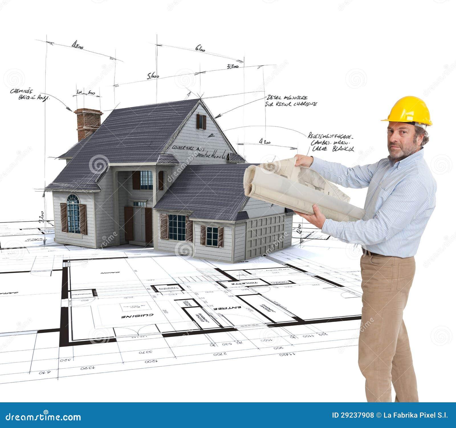 architekt der sein projekt anzeigt stock abbildung illustration von kaukasisch sturzhelm. Black Bedroom Furniture Sets. Home Design Ideas