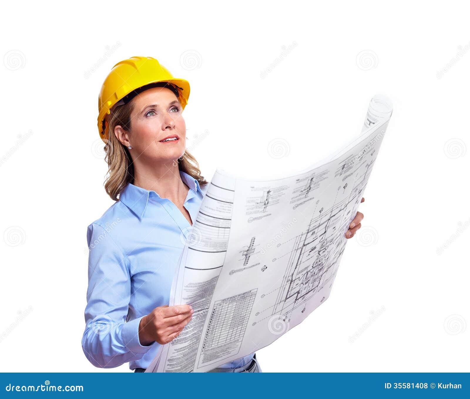 Architekt kobieta z planem zdj cie stock obraz 35581408 for Immagine di un disegno di architetto