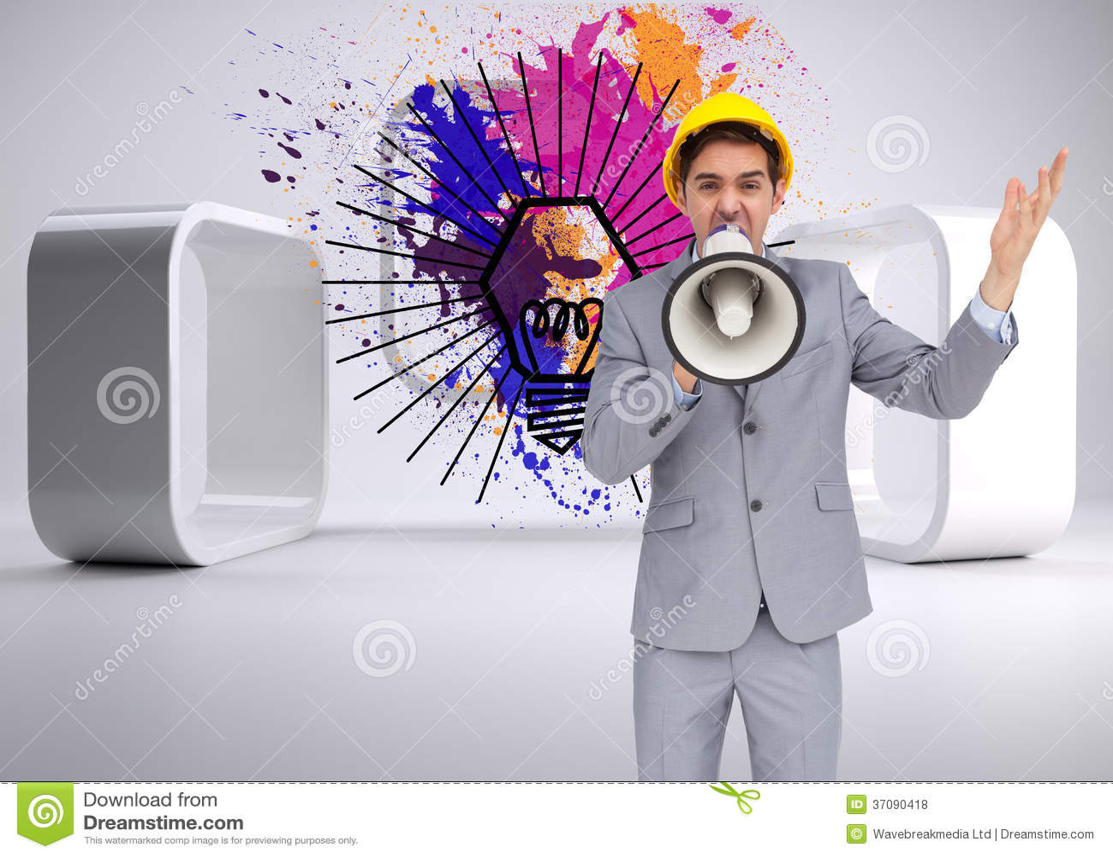 Download Architekt Krzyczy Z Megafonem Z Ciężkim Kapeluszem Zdjęcie Stock - Obraz złożonej z artystyczny, światło: 37090418
